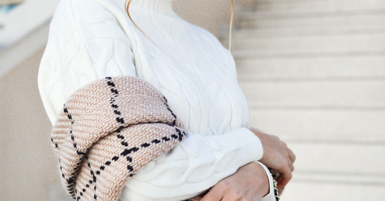 light brown check cashmere wrap